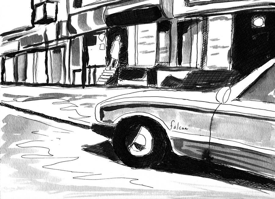 """New York Noir #9, ink and wash, 2013,"" by Allen Forrest"