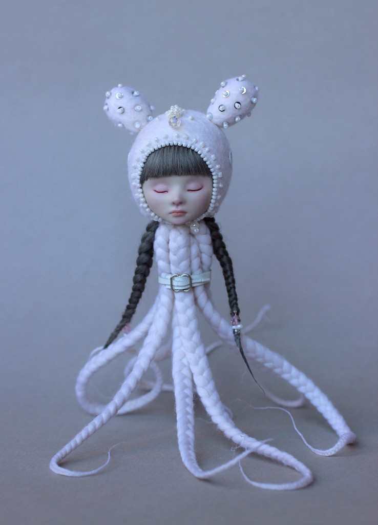 """Japanese Snowy OctoBunny LULU, porcelain doll,"" by ShirrStone Shelter"